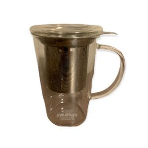 David's Tea Clear Mug with Strainer and Lid